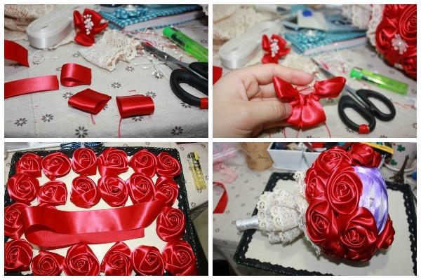 Как сделать букет из атласных роз