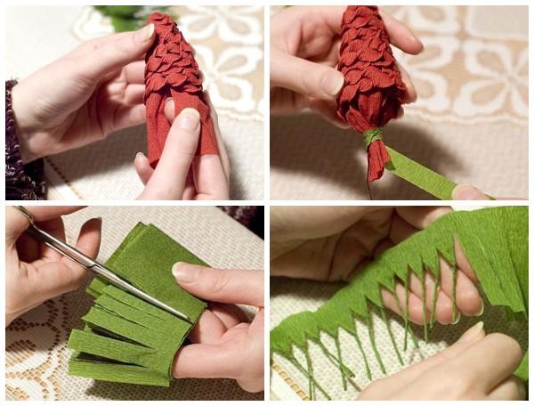 Как сделать еловую ветку с шишками из гофрированной бумаги