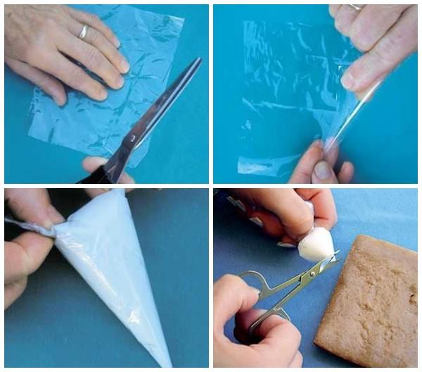 Как сделать конвертик из целлофана для украшения глазурью
