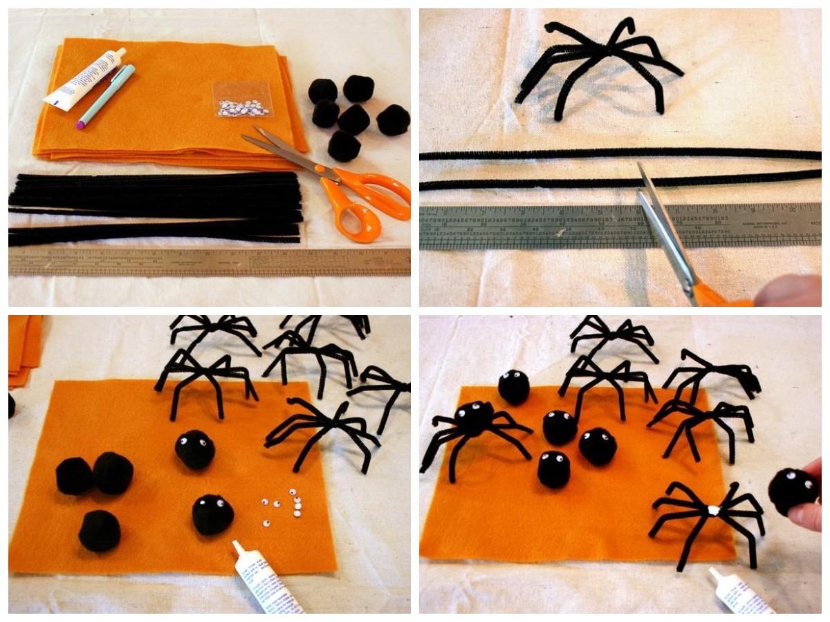 Как сделать пауков из синельной проволоки и помпонов