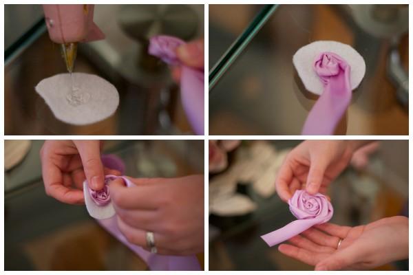 Как сделать розочку из атласной ленты