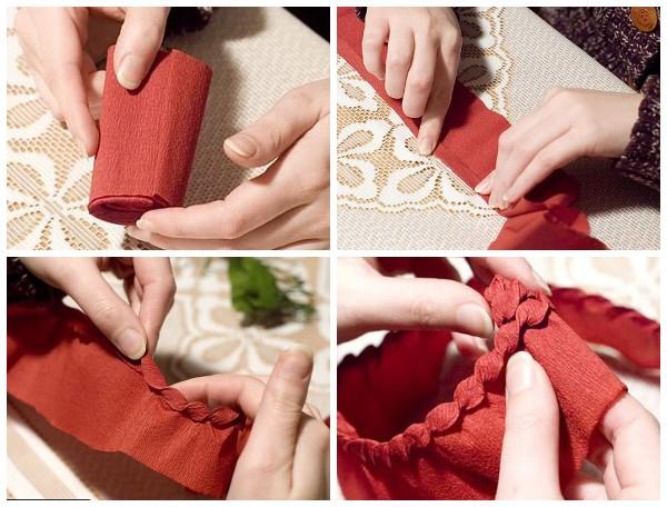 Как сделать шишку из гофрированной бумаги