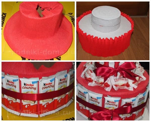 Как сделать многоярусный торт из киндеров