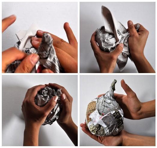 Как сделать тыкву из газеты