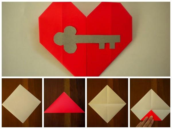 Как сложить открытку в виде сердца из бумаги