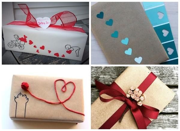 Упаковка подарка ко Дню влюбленных из крафт бумаги
