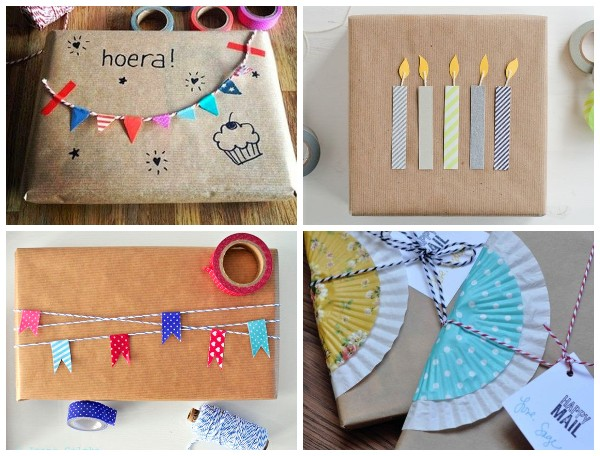 Упаковка подарка крафт бумагой на День рождения