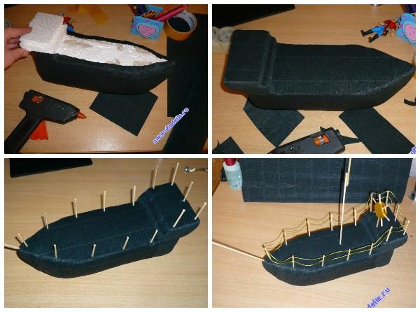 Корабль из пенопласта и гофрированной бумаги