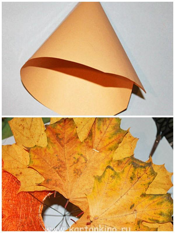 Каркас украшаем осенними листьями