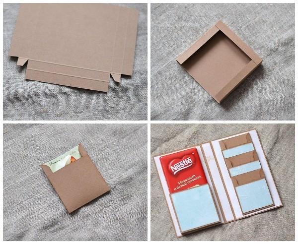 Открытка с кармашками для шоколадки и чайных пакетиков
