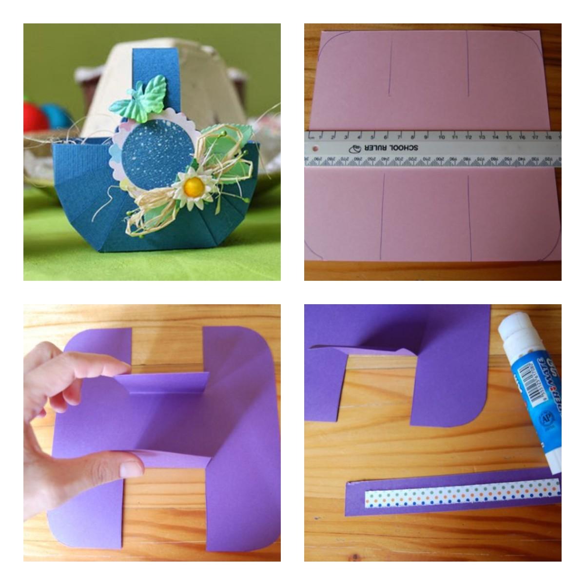 Как сделать пасхальную корзинку из бумаги