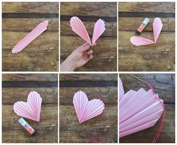 Сердечки из бумажных гармошек