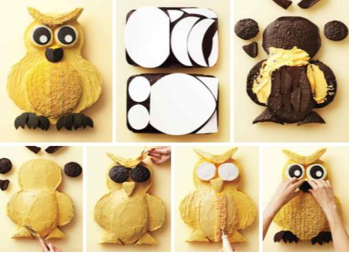 Шаблон коржей для торта в виде совы