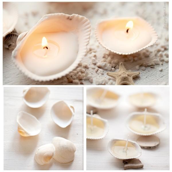 Миниатюрные свечи в ракушках