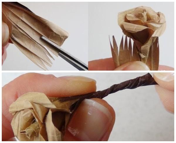 Стебельки для роз из бумаги