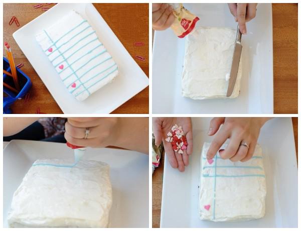 Торт в виде тетрадного листа