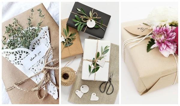 Украшение подарка сухими цветами