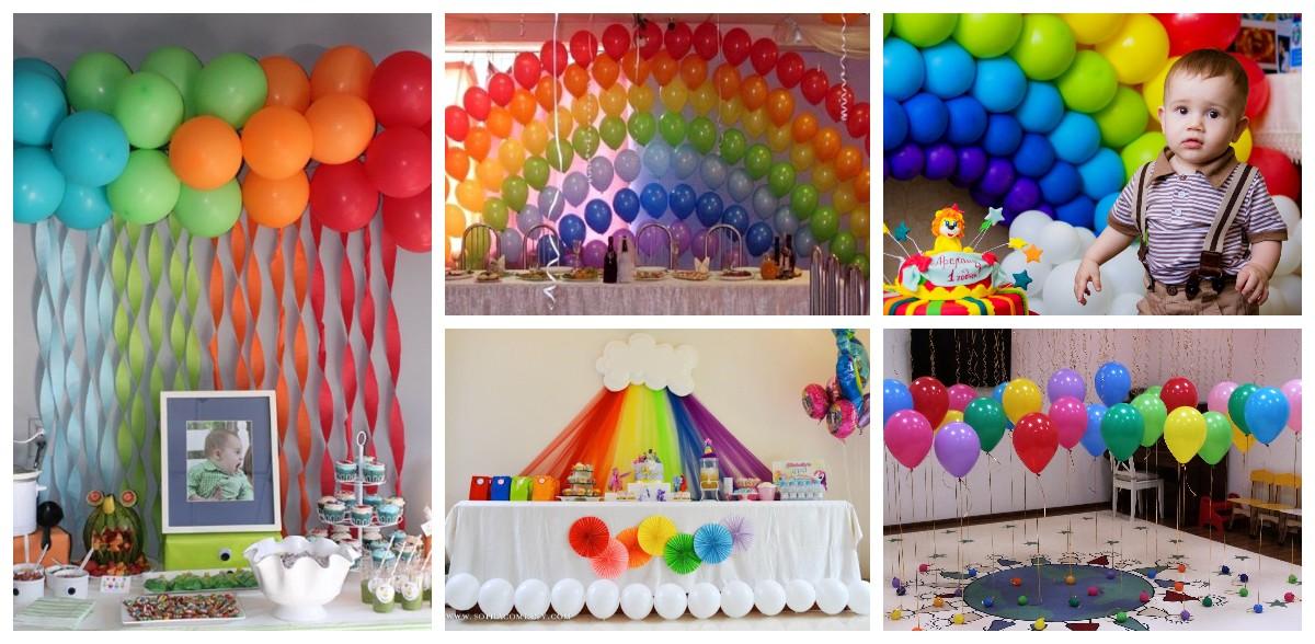 Как украсить помещение разноцветными шарами