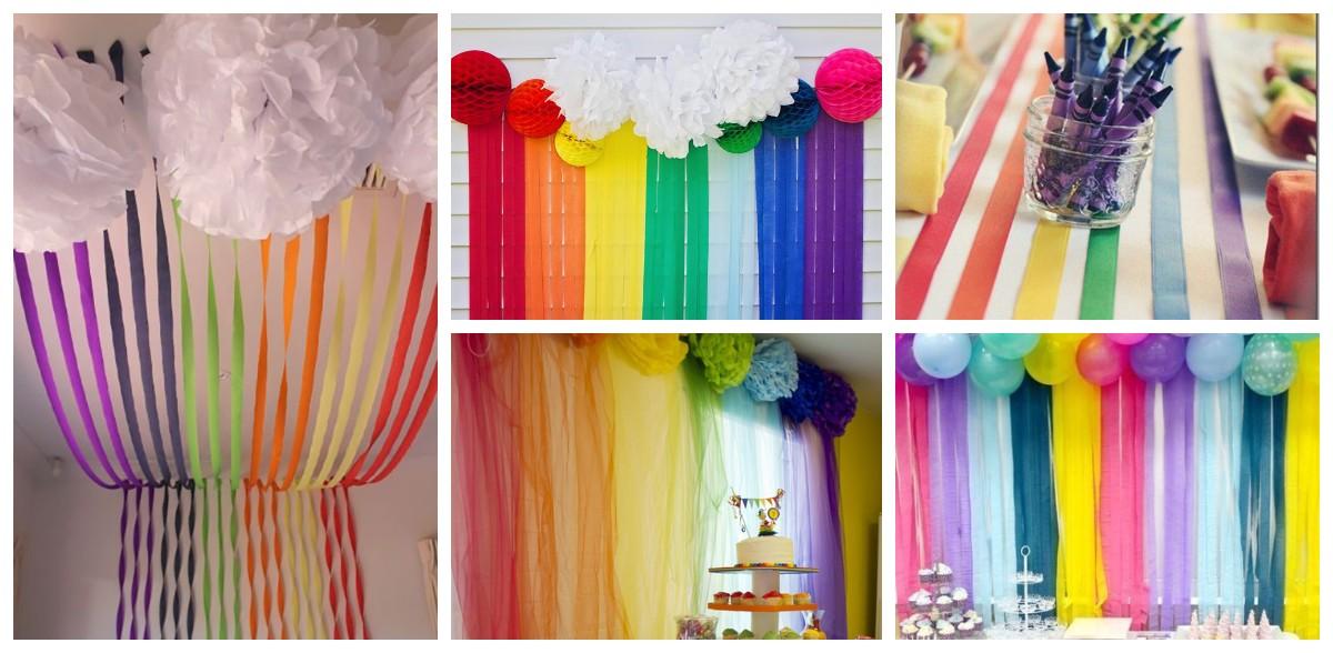 Украшение праздниками разноцветными лентами