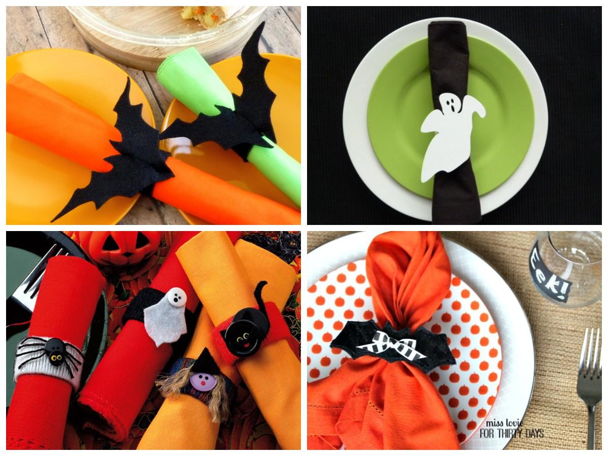 Украшение салфеток на Хэллоуин