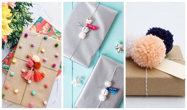 Украшение упаковки подарка помпонами