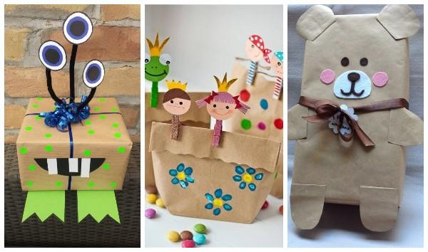 Упаковка детских подарков в крафт бумагу