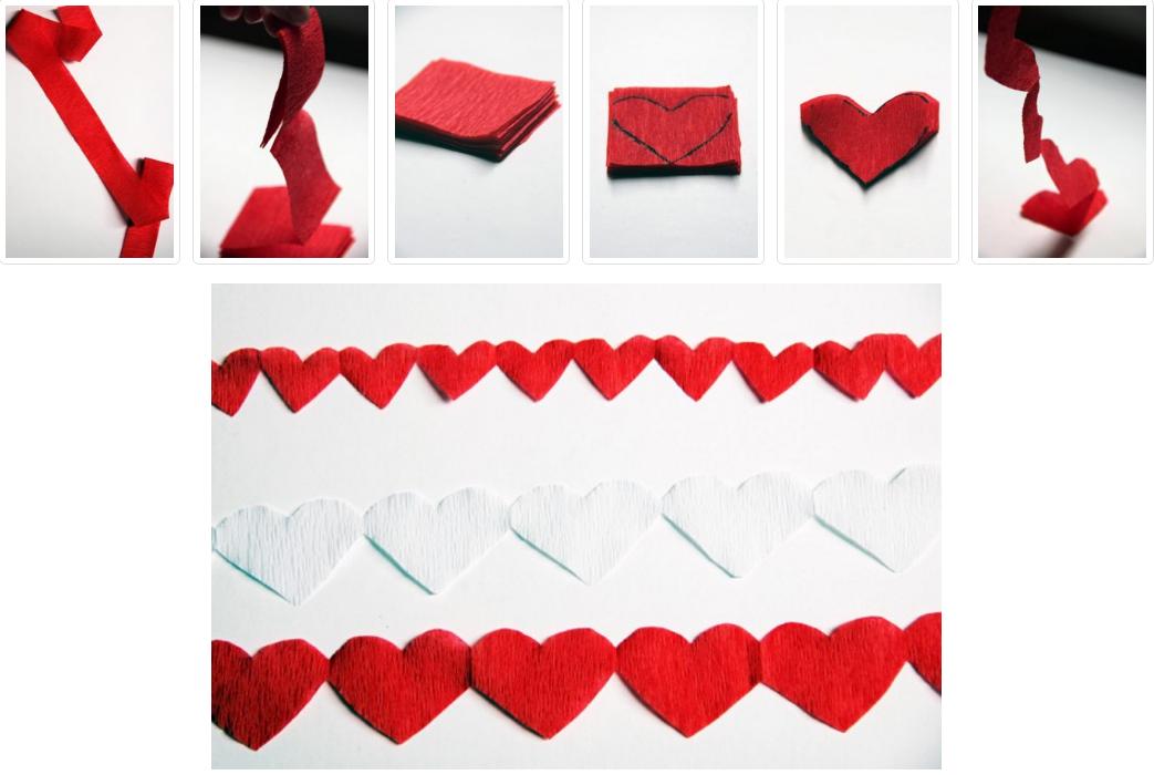 Как сделать гирлянду из сердечек