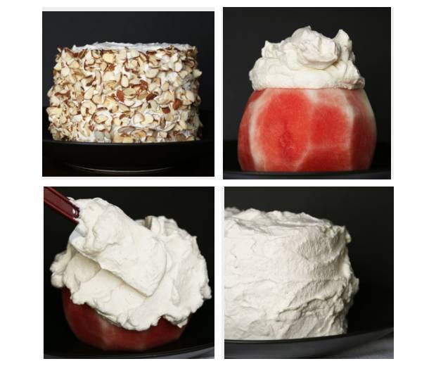 Арбузный торт со взбитыми сливками и миндальными хлопьями