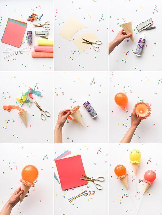 Как сделать мороженое в рожке из шарика и бумаги
