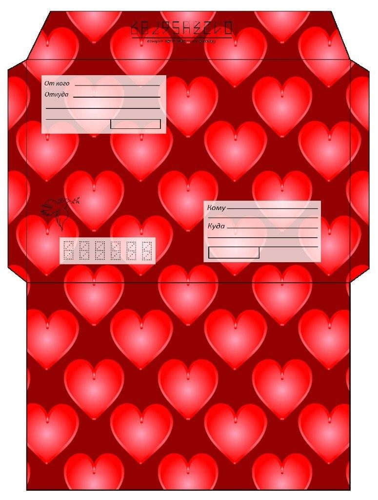Красный шаблон с сердцами