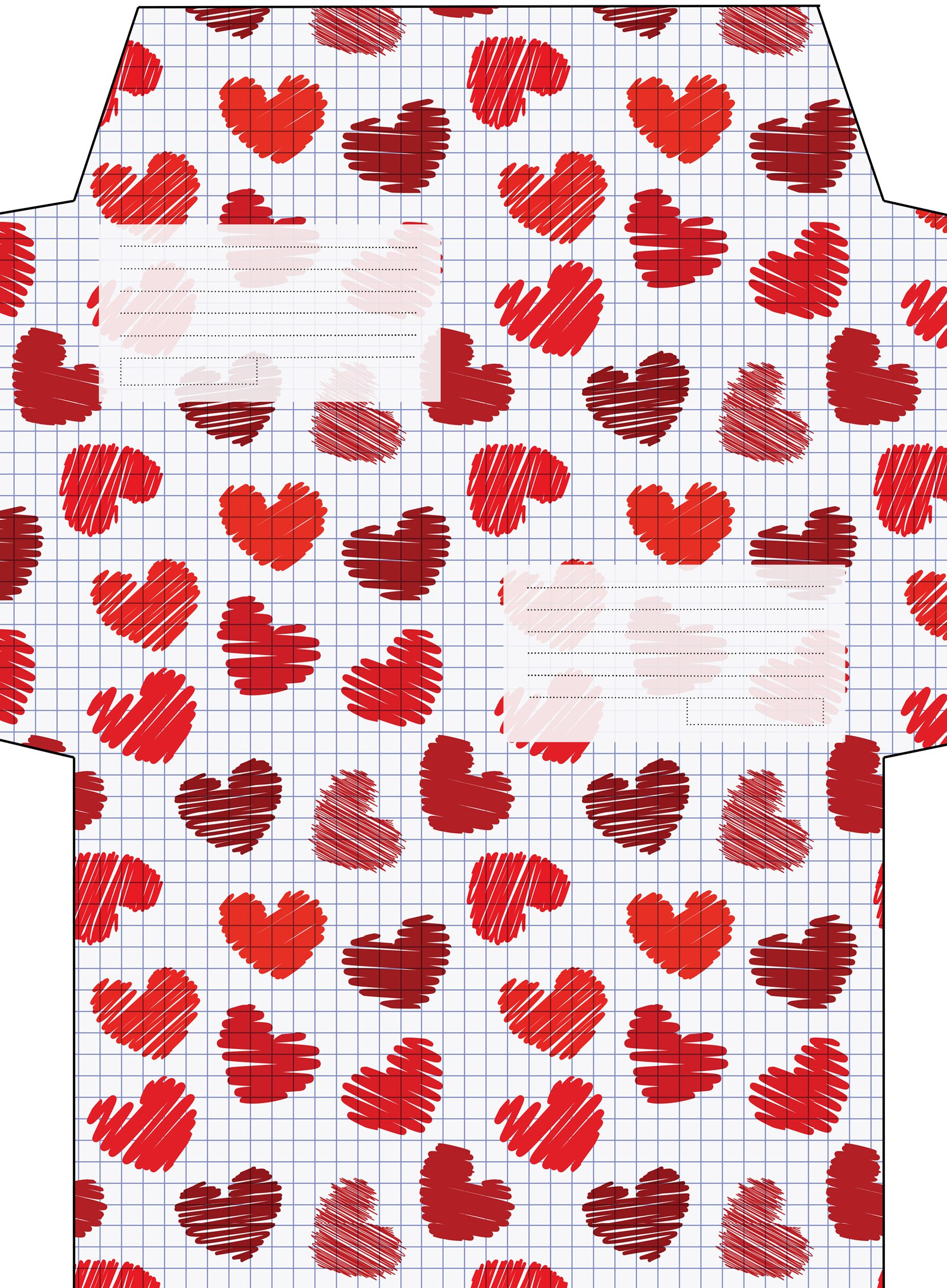 Шаблон конверта «Сердца на тетрадном листе»
