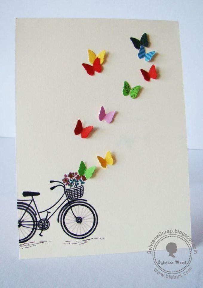 открытка с объемными бабочками