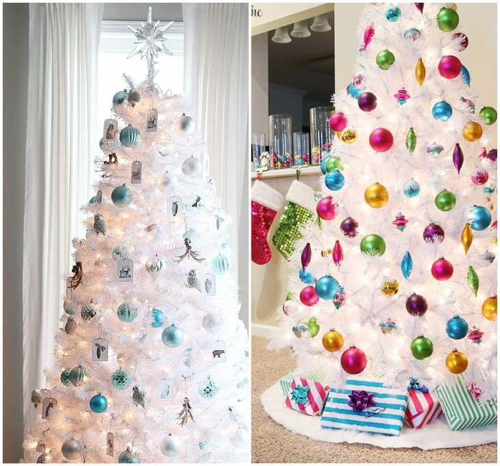 Декор белой искусственной елки