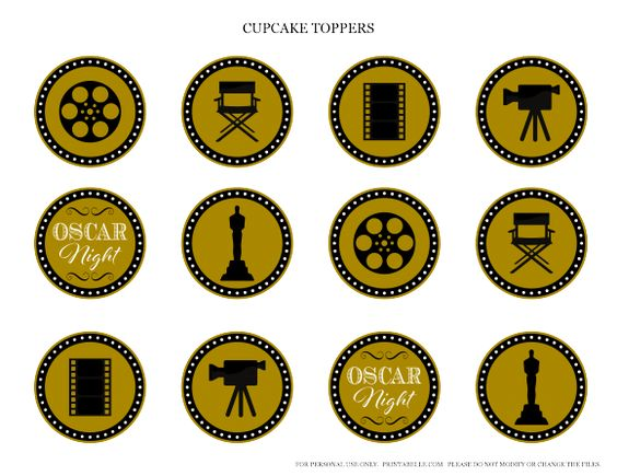 Золотые топперы в стиле Оскар