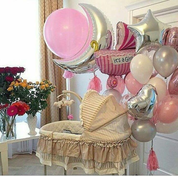 Украшение комнаты шарами на рождение девочки