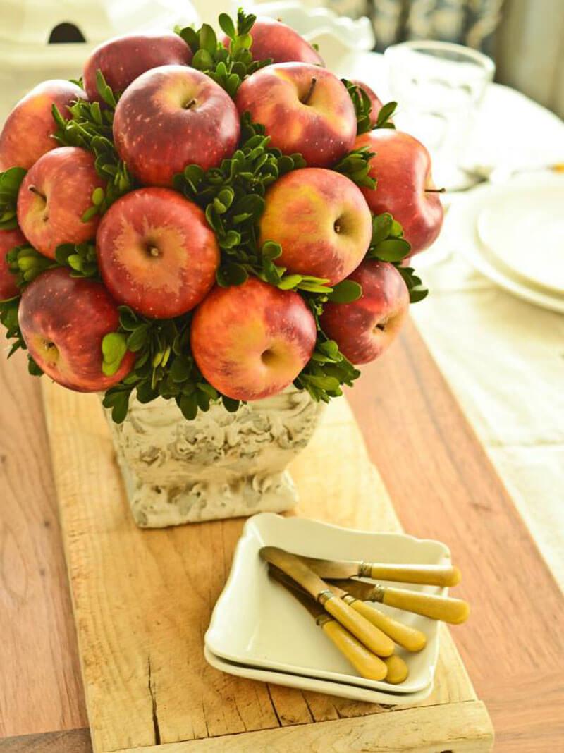 Букет из яблок в корзинке своими руками