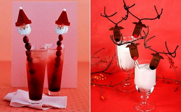 Украшение новогодних коктейлей