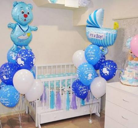 Украшение шарами комнаты на рождение мальчика