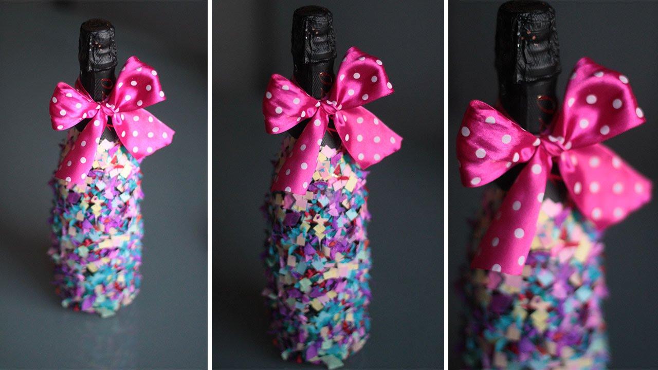 Украшение бутылки блестками