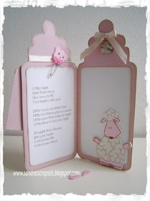 Детская открытка в виде бутылочки с соской