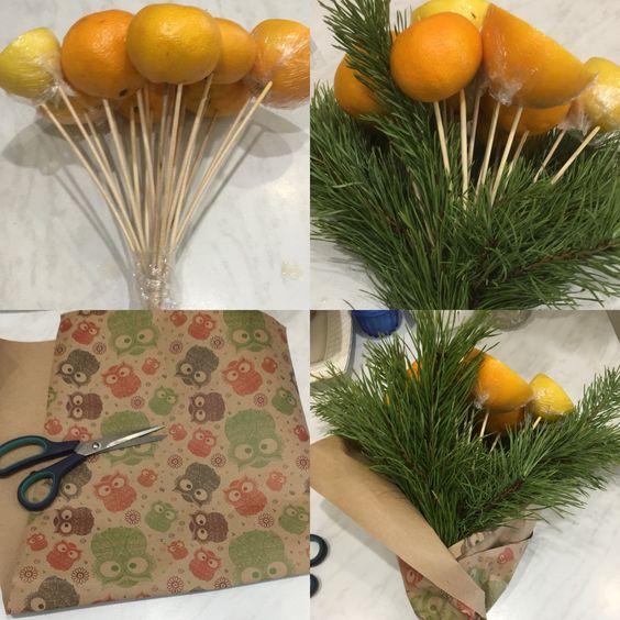 Как сделать букет из апельсинов и еловых веток