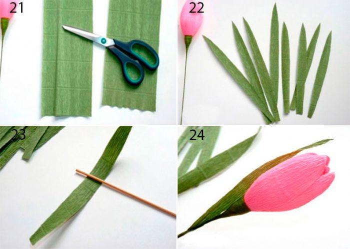Как сделать тюльпан из гофрированной бумаги и конфеты