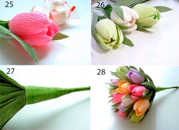 Весенний букет из конфет с тюльпанами