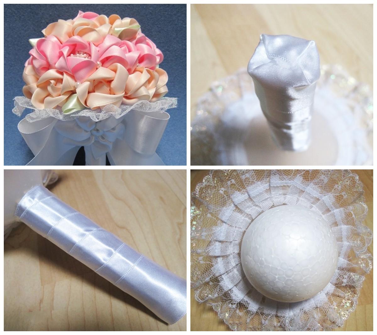 Как сделать свадебный букет из атласных лент