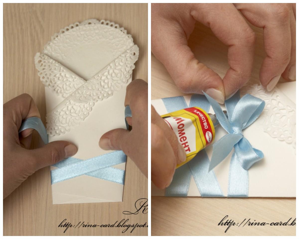 Открытка в виде конверта для новорожденного своими руками