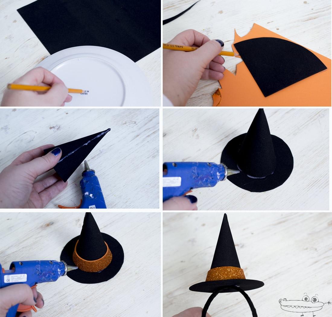 Как сделать шляпу ведьмы из фетра на ободке для волос