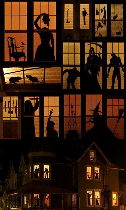 Идеи украшения окон на Хэллоуин