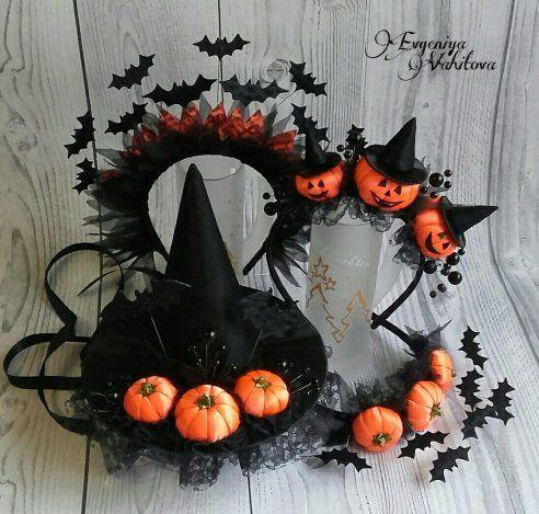 Ободок для волос на Хэллоуин с тыквами