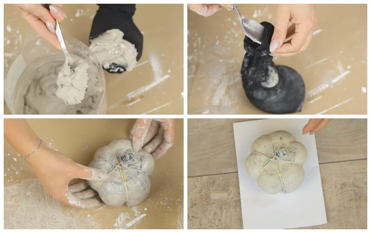 Как сделать тыкву из гипса