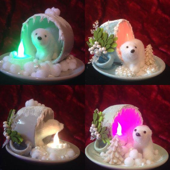 Чашки-подсвечники с мишкой